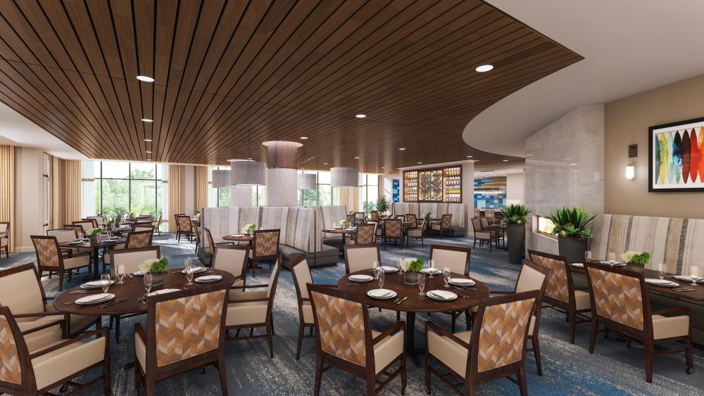 Rendering of the Dining Room at The Carillon at Belleview Station