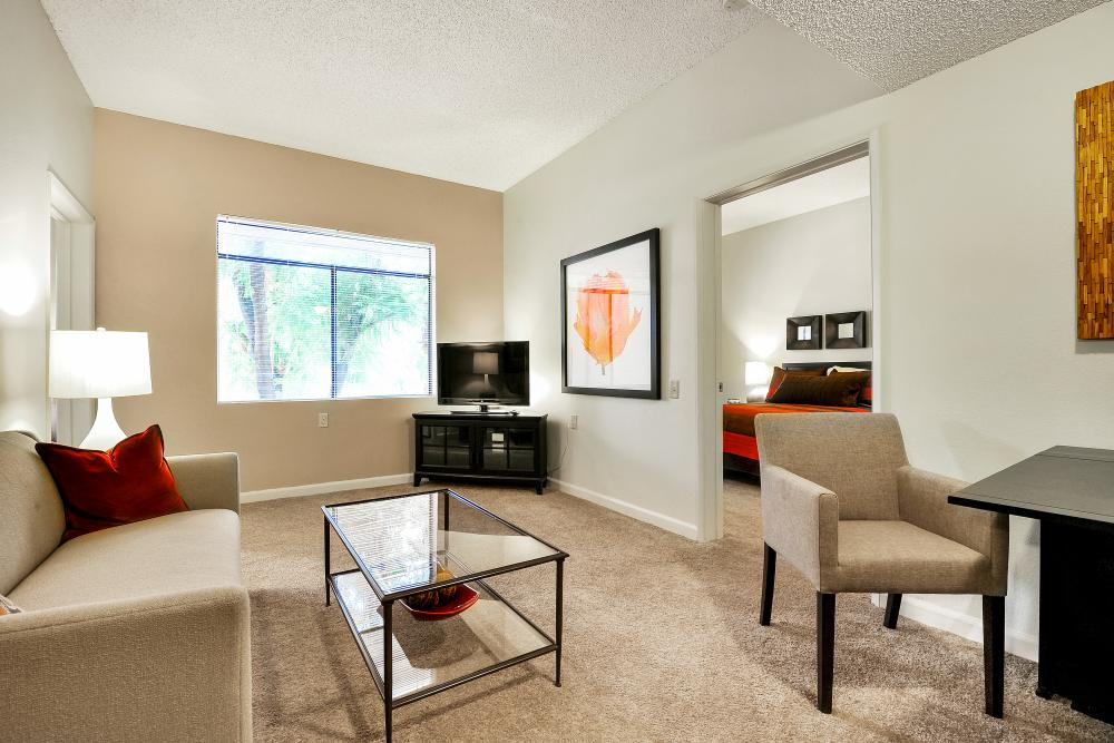 Senior Apartment Living Room - Broadway Proper Retirement Community