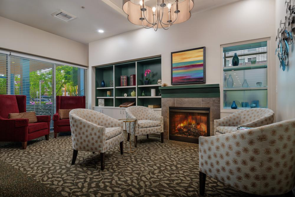 Sitting Area with Fireplace at Russellville Park