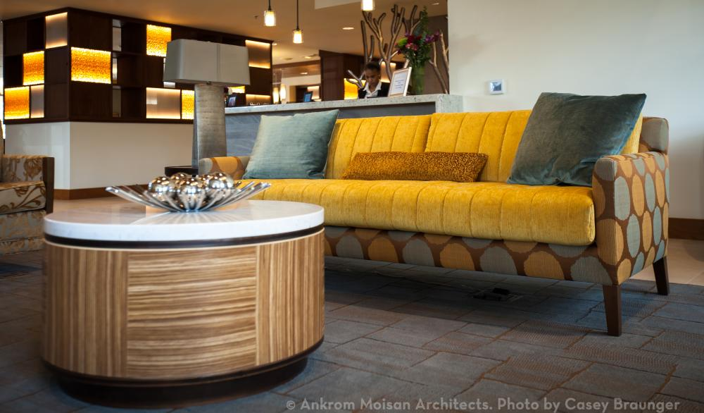 Modernist Sofa In Lobby At The Ackerly At Timberland